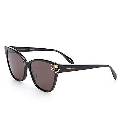 Alexander McQueen Black Cat Eye Jeweled Spider Sunglasses
