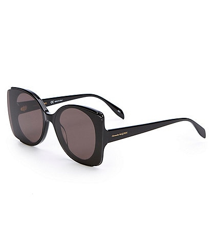 Alexander McQueen Black Edge Polarized Cat Eye Sunglasses