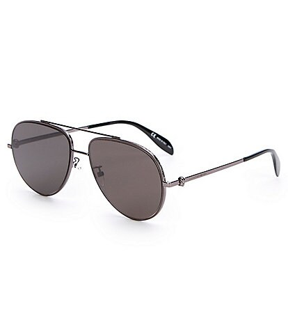 Alexander McQueen Metal Aviator Grey Lens Sunglasses