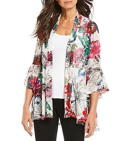 22013f647 Ali Miles 3/4 Ruffle Sleeve Floral Print Onion Skin Hi-Low Jacket