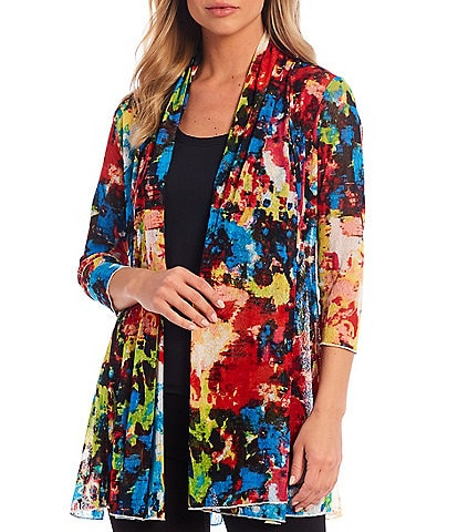 Ali Miles 3/4 Sleeve Abstract Floral Onion Skin Jacket