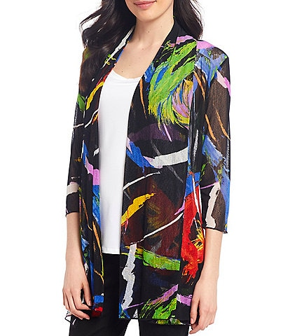 Ali Miles 3/4 Sleeve Abstract Print Onion Skin Open Front Jacket