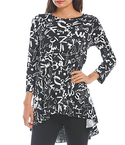 Ali Miles 3/4 Sleeve Boat Neck High-Low Printed Tunic