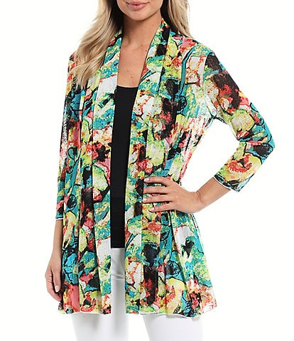 Ali Miles 3/4 Sleeve Watercolor Floral Onion Skin Jacket
