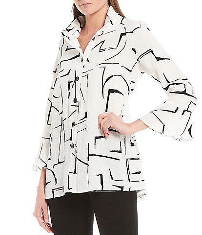 Ali Miles 3/4 Sleeve Wire Neck Abstract Geo Print Crinkle Tunic
