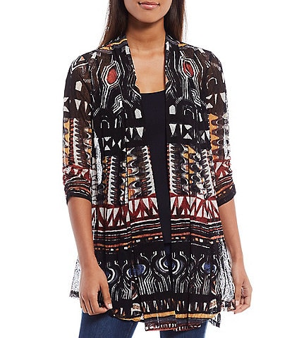 Ali Miles Abstract Multi Printed Onion Skin Cinched Back Cardigan