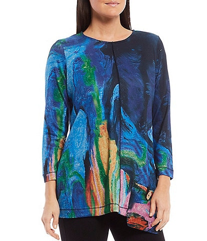 Ali Miles Abstract Print Brush Knit 3/4 Sleeve Tunic with Patch Pocket