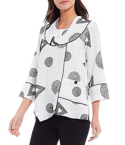 Ali Miles Crinkle Abstract Embroidery Cowl Neck Tunic