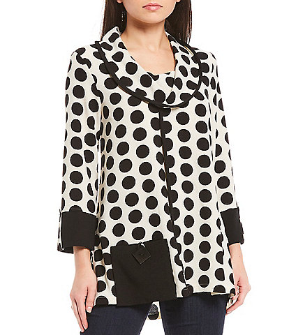 Ali Miles Crinkle Dot Cowl Neck 3/4 Sleeve Tunic With Patch Pocket