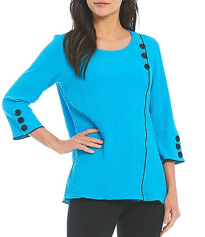 Ali Miles Crinkle Knit 3/4 Button Sleeve Top