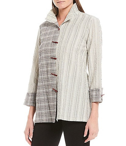 Ali Miles Crinkle Plaid Stripe Wire Neck Novelty Button Front Shirt