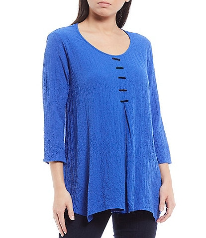 Ali Miles Crinkle Scoop Neck 3/4 Sleeve Button Placket Detail Tunic