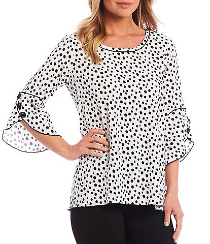 Ali Miles Dot Crinkle Round Neck Bell Sleeve Knit Top