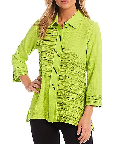 Ali Miles Exposed Seam Button-Front Point Collar Tunic