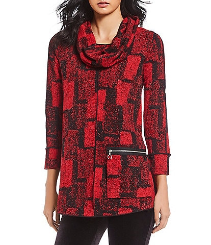Ali Miles Exposed Seam Geo Print Tunic With Scarf