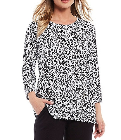Ali Miles French Baby Terry Grommet Side Leopard Tunic