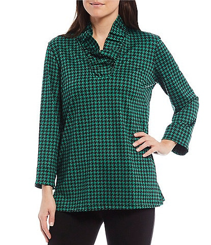 Ali Miles Houndstooth Ruffled V-Neck 3/4 Sleeve Top