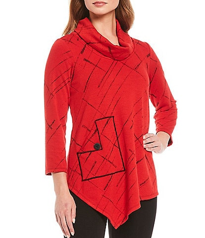 Ali Miles Jacquard Knit Cowl Neck Tunic With Pocket