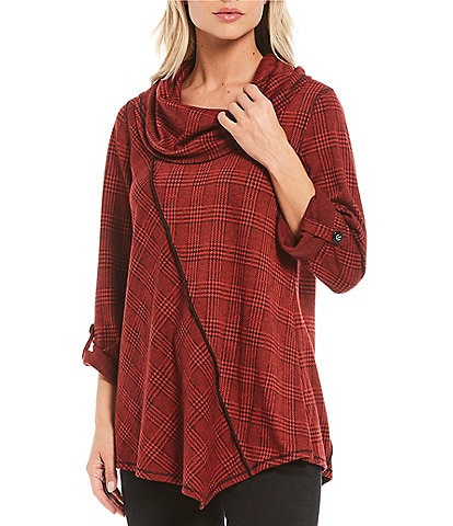 Ali Miles Knit Cowl Neck Plaid Roll-Tab Sleeve Tunic
