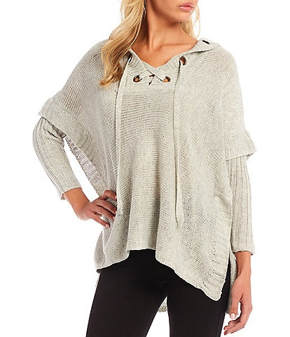 Ali Miles Lace-Up Printed V-Neck 3/4 Sleeve Hooded Tunic