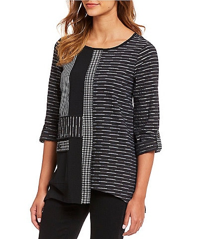 Ali Miles Mixed Media Crinkle 3/4 Roll Tab Sleeve Top