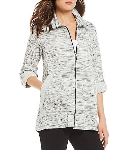 Ali Miles Mock Neck Zip Up Side Pocket Jacket