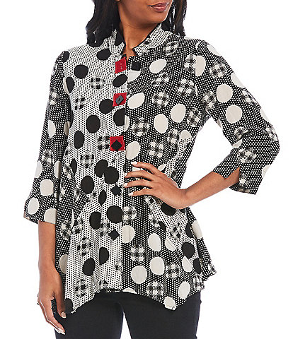 Ali Miles Multi Abstract Dot Print Asymmetrical Hem Button Front Crinkle Blouse