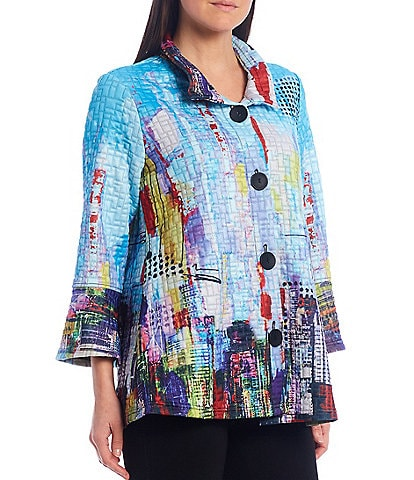 Ali Miles Multicolor Abstract Print Textured Knit Wire Neck Jacket