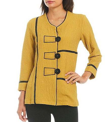 Ali Miles Petite Size 3/4 French Cuff Sleeve Jewel Neck Crinkle Button Front Tunic