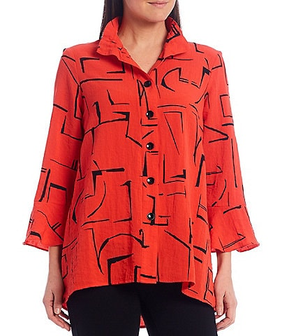 Ali Miles Petite Size 3/4 Sleeve Wire Neck Abstract Geo Print Crinkle Tunic