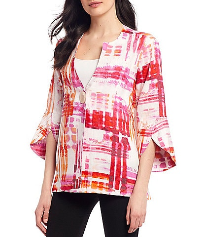 Ali Miles Petite Size Abstract Print 3/4 Split Sleeve One-Button Asymmetrical Hem Linen Jacket