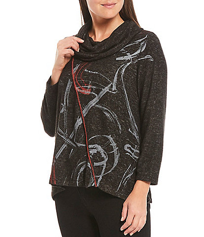 Ali Miles Petite Size Abstract Print Cowl Neck 3/4 Sleeve Heathered Knit Sharkbite Hem Top