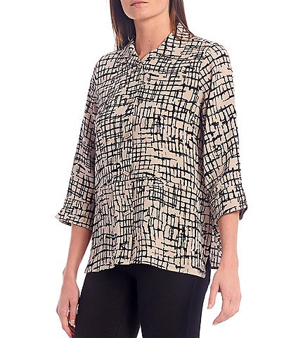 Ali Miles Petite Size Abstract Print Wire Collar 3/4 Sleeve Button Down Blouse