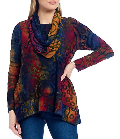 Ali Miles Petite Size Abstract Texture Knit Long Sleeve Hi-Low Tunic with Attached Scarf
