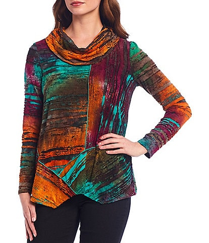 Ali Miles Petite Size Abstract Textured Print Cowl Neck Long Sleeve Asymmetrical Hem Top
