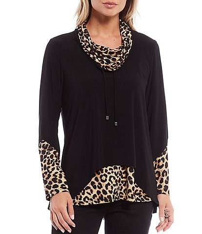 Ali Miles Petite Size Cheetah Print Knit Cowl Neck Drawstring Long Sleeve Hi-Low Top