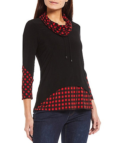 Ali Miles Petite Size Cowl Neck High-Low Check Print 3/4 Sleeve Tunic