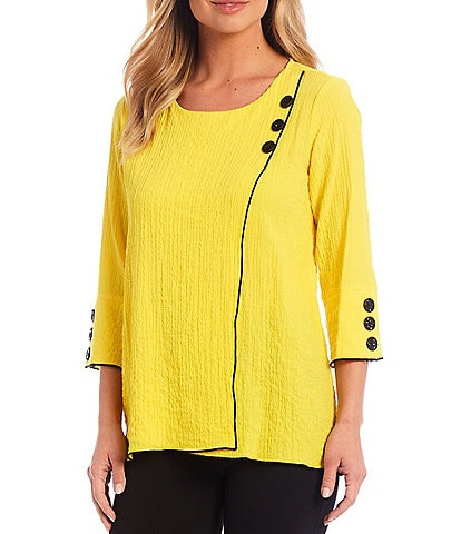 Ali Miles Petite Size Crinkle Knit 3/4 Button Sleeve Top