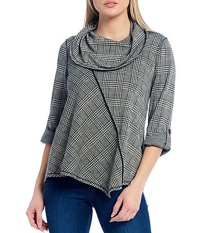 Ali Miles Petite Size Knit Plaid Cowl Neck Roll-Tab Sleeve Top