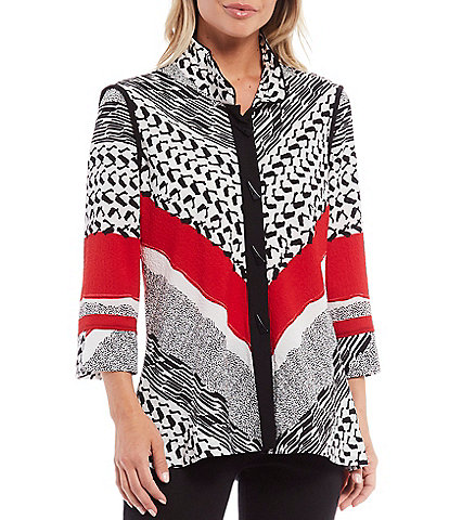 Ali Miles Petite Size Mixed Stripe Button Front Crinkle Knit Tunic