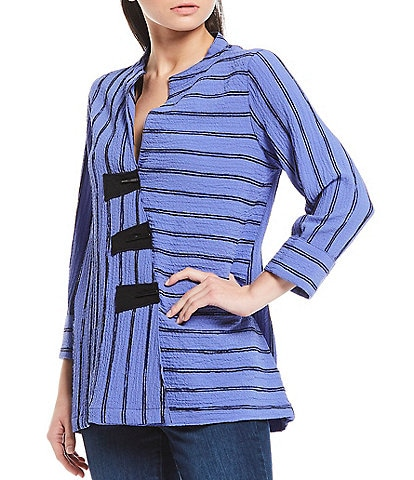 Ali Miles Petite Size Mixed Stripe Crinkle Cross Over Blouse With Patched Buttons