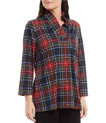Ali Miles Petite Size Plaid Ruffle V-Neck 3/4 Sleeve Top