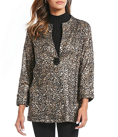 Ali Miles Petite Size Printed Animal Lace Mesh French Cuff Jacket