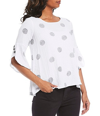 Ali Miles Petite Size Printed Sketch Dot Hi-Low 3/4 Sleeve Crinkle Tunic