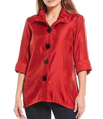 Ali Miles Petite Size Shimmer Wire Neck Button Front Blouse