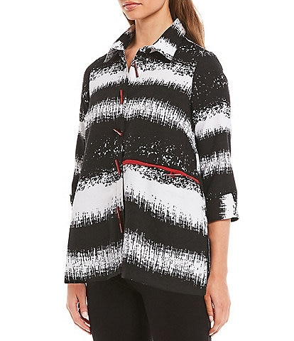 Ali Miles Petite Size Striped Textured Woven 3/4 Sleeve Button-Up Back Pleat Tie Detail Jacket