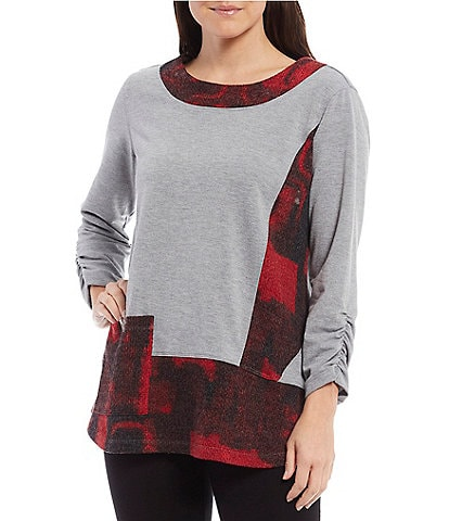 Ali Miles Plaid French Terry Ruched Sleeve Tunic