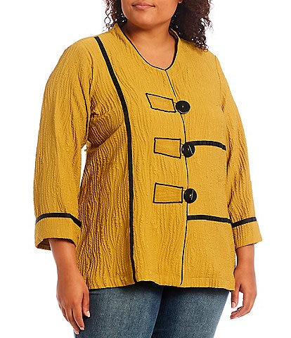 Ali Miles Plus Size 3/4 French Cuff Sleeve Jewel Neck Crinkle Button Front Tunic