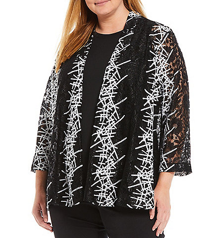 Ali Miles Plus Size Abstract Print Lace Embroidered Open-Front 3/4 Sleeve Jacket