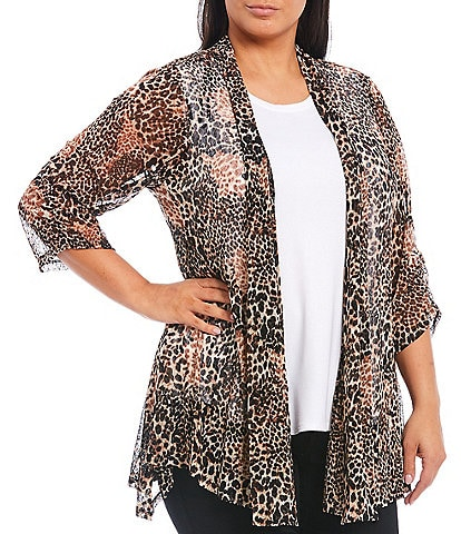 Ali Miles Plus Size Animal Print Shawl Collar Cinched 3/4 Sleeve Onion Skin Open Front Jacket